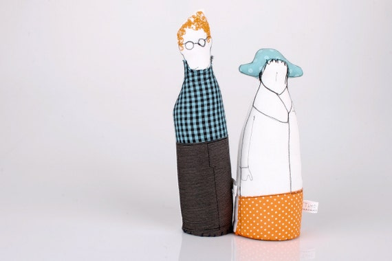 Couple - Strange lovers in Black and white ,Dressed in turquoise and orange, plaid, stripes and dots-handmade fabric dolls free shipping