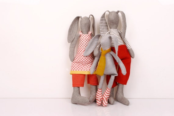 Family - boutiqe Light Gray rabbit Family in Red white and yellow  Wearing Floral, stripes dotted Clothes  -handmade fabric doll