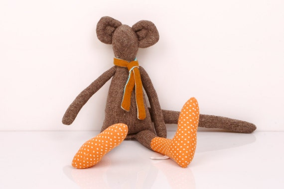 plush Mouse - Brown woven fabric Mouse Wearing orange dotted socks and  Orange and Turquoise scarf -handmade  doll