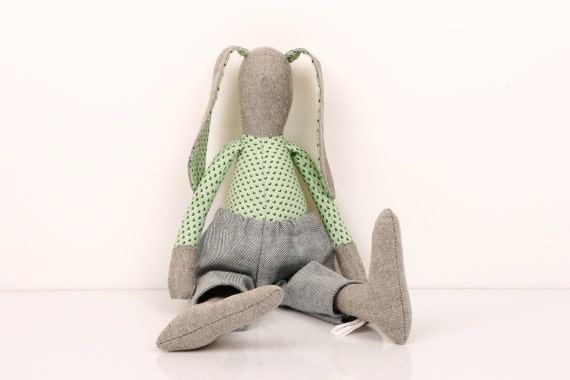 Easter Bunny- Gray  rabbit in Green Mint with dark circles Shirt  Wearing Light Gray Jeans - handmade fabric doll