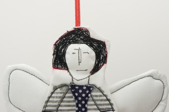 Cupid - Black and white Modern Angel   Wearing a striped dress and a polka dot tie - handmade fabric Wall art  doll free shipping