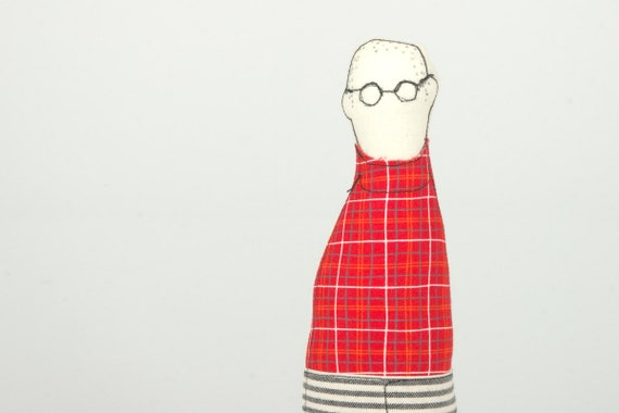 Family guy - Father, son, brother or uncle handmad cloth doll - Wearing Eyeglasses Striped jeans and red plaid shirt