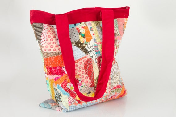 Recycled big Tote Shoulder Bag ,Colorful Cotton scraps from the studio With red handle - Handmade