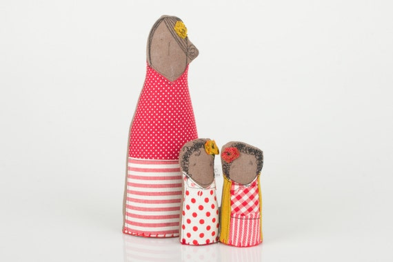 Mother's Day -  Mother and twin daughters - dressed in red and mustard dotted, plaid, and stripes - handmade fabric Brown Family  dolls