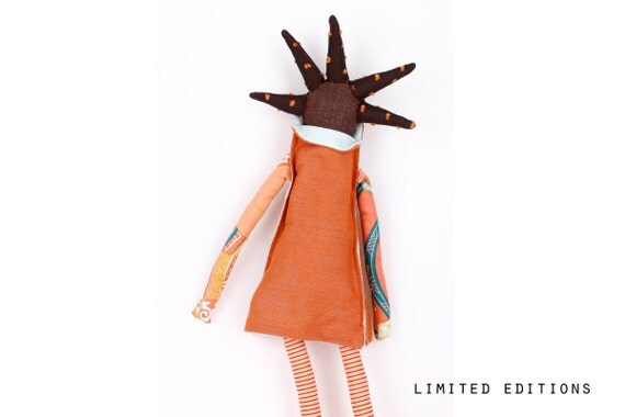 African handmade fabric doll-brown and  funky With coll Haircut in orange & Blue,Peach flowers and stripes