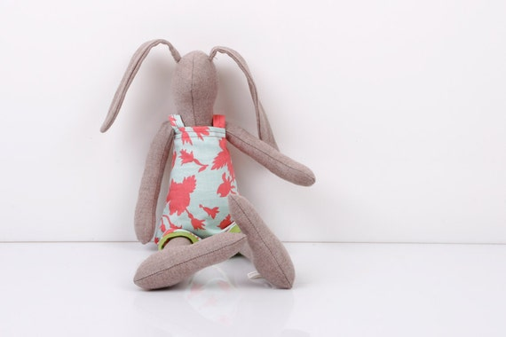 handmade doll - Romantic Natural wool rabbit Wearing Bright turquoise with pink flowers dress