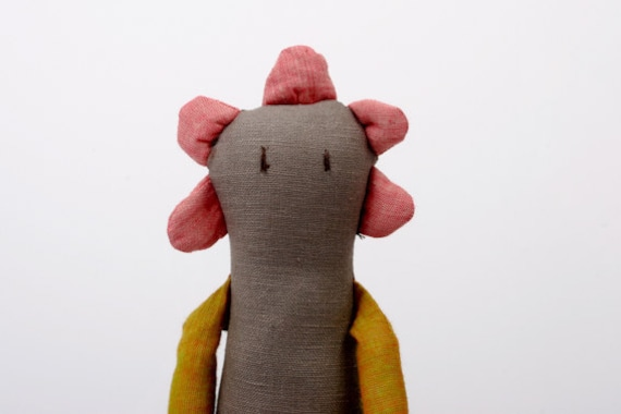 Spring Limited Edition - Flower Doll in Pink, mustard yellow, brown, gray , Dotted and striped handmade doll