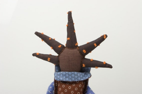 African rag doll -  funky handmade doll With cool Spikes Haircut Wearing  brown and blue  dotted dress