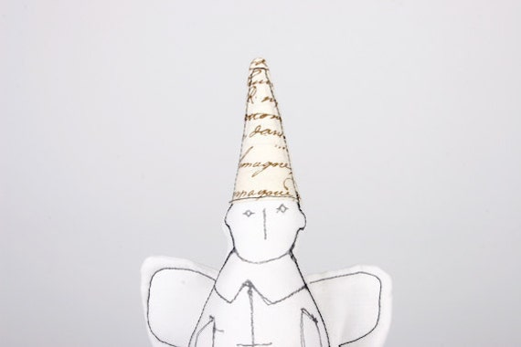 Holidays angel - Black & White guardian angel in Written letters hat and white wings- handmade fabric doll