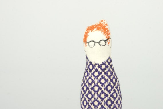 you sure know someone like that  Ging guy wearing Purple retro shirt, jeans and glasses - handmad cloth doll