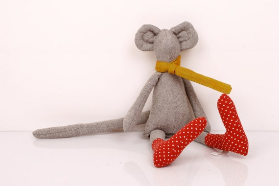 Springtime Mouse - gray  Mouse Wearing Dotted red socks and  Mustard yellow scarf  - handmade fabric doll