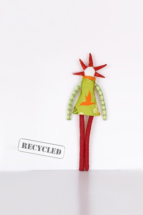 handmade White doll with a special hair Wearing Apple green, red & orange And a bird