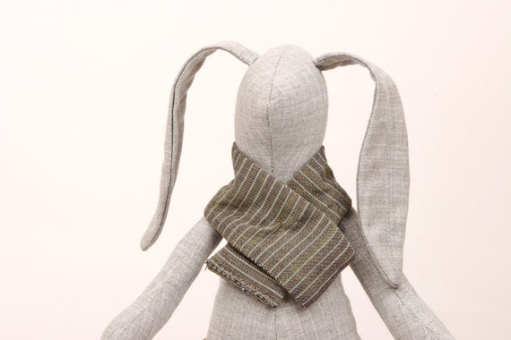 plush , Gray ,   small  rabbit  in striped  scarf  and hot  Fuchsia socks -  handmade fabric doll