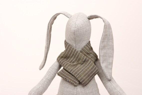 plush , Gray ,   small  rabbit  in striped  scarf  and hot  Fuchsia socks -  handmade fabric doll
