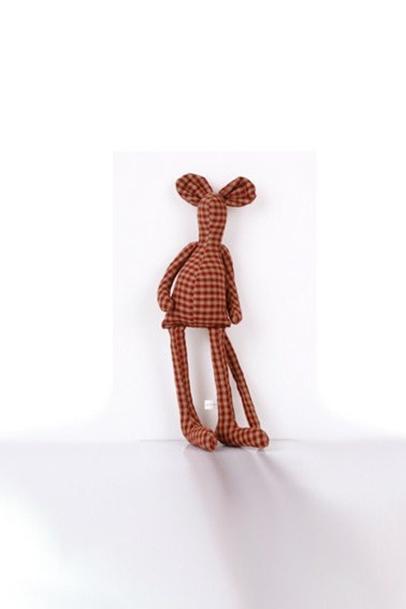 Checkered Mouse  in Red and Camel handmade doll