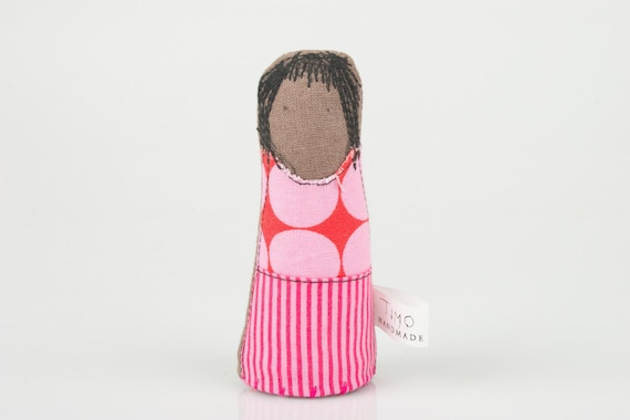 little brown girl wearing  red dotted pink shirt and Hot pink stripes skirt - handmade fabric doll