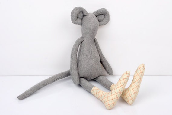Autumn Mouse :Light Gray Mouse Wearing Light yellow Checkered socks  - handmade fabric doll