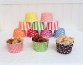 20 Cupcake Liners Snack Ice Cream Candy Cups Lemonade Party Baby Shower Birthday Wedding Party Dots Stripe Pink Lime Green Yellow Red Blue