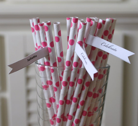 50 Pink Paper Straws Polka Dots Retro Vintage Style Circus Carnival Wedding Birthday Bridal Baby Shower W/ Printable Flags I Created