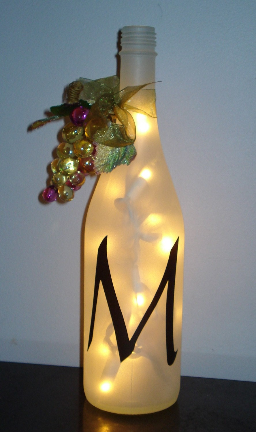 Personalized initial white wine bottle decor light for Wine bottle decoration with lights