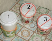 Coffee cozy sleeve - 1.Floral, 2.Medalion(SOLD), 3.Pink(SOLD)