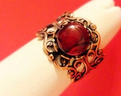 Antique Copper Red Paua Adjustible Cabochon Ring