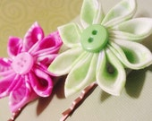 Kanzashi Pink & Green Fabric set of 2 Flower Bobby Pins with Button Accents