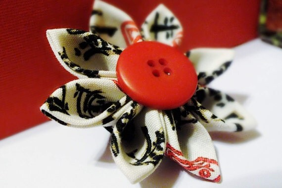 Kanzashi Flower Hair Clip Asian Fabric with Red Button Accent
