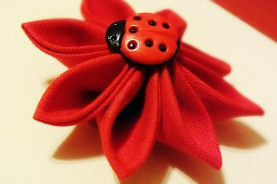 Kanzashi Flower Hair Clip Red Fabric with Lady Bug Button Accent
