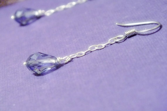 Purple Tanzanite Swarovski Chain Dangle Earrings On Sale