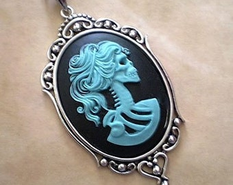 Gothic Teal Black Lolita Skeleton Cameo Necklace - Victorian Zombie