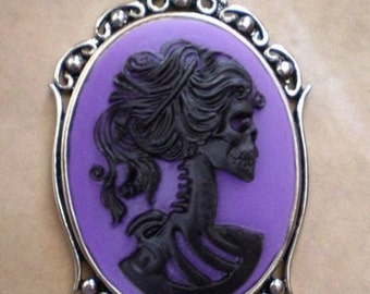 Gothic Purple Lolita Skeleton Cameo Necklace - Victorian Zombie