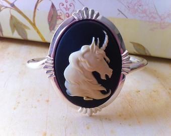 Bracelet Unicorn Cameo Cuff - Victorian Fantasy Jewelry