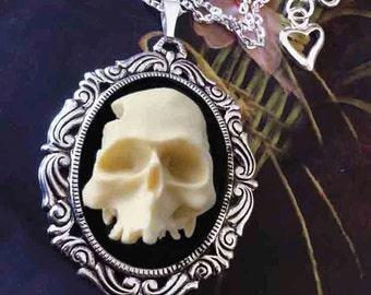 Halloween Jewelry - Half Skull Necklace Ivory Black Zombie Cameo Pendant