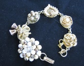 Wedding Bells - Repurposed Vintage Earring Charm Bracelet