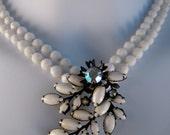 First Frost - Vintage Milk Glass Statement Necklace