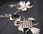 Statement Necklace, Vintage Necklace, Vintage Owl,  Enamel Flower, Charm Necklace, Silver, Black - Night Owl - SALE