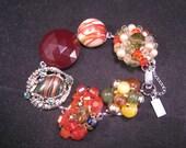Charm Bracelet, Upcycled Vintage Bracelet, Bridesmaid Gift, Vintage Earring Bracelet, Cluster Earring Statement,  Cinnamon - Spice Girl