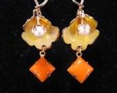 Reclaimed Vintage Earrings, Bridesmaid Gift, Statement, Orange, Yellow, Vintage Enamel Flowers, OOAK, Pearl, Upcycled, Gift Under 25 - Calla