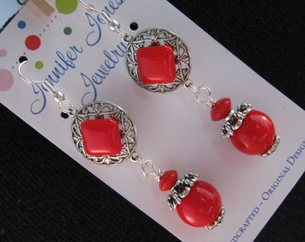 Vintage Earrings, Reclaimed, Vintage Button Earrings, Glass Button Earrings, Red Glass Buttons, Under 25 - Red Chiclets