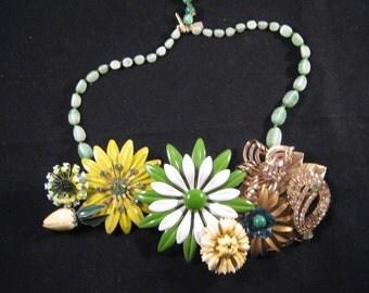 Statement Necklace, Reclaimed Vintage Necklace, Enamel Flower Power, Asymmetric, Yellow, Green, White, Jennifer Jones - Lemon Lime Cascade