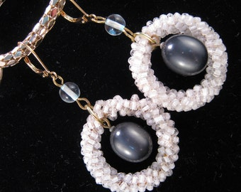 Reclaimed Vintage Earrings, Vintage Earring Assemblage, Bridesmaid Gift, Under 25, Grey Pearl - On Target