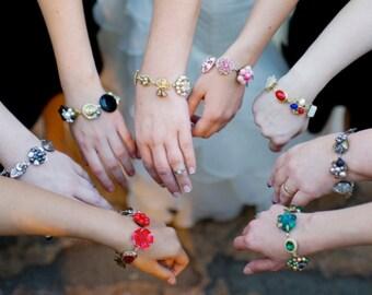 Bridesmaid Gift, Set of 7, Bridesmaid Bracelets, Reclaimed Vintage, Color Choice, Unique, Original, Gift Under 35, Custom Wedding Jewelry