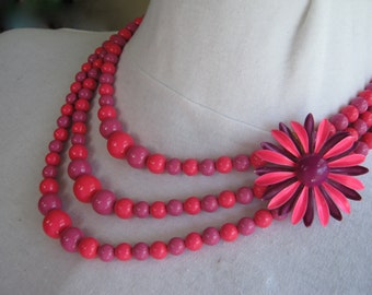 Statement Necklace, Reclaimed Vintage Necklace, Vintage Enamel Flower, Flower Power, Asymmetric Assemblage, Hot Pink, Purple, SALE - Neon