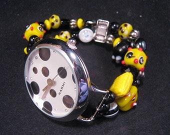 Statement Watch, Original Polka Dot Watch, Handmade Bracelet Watch, Jennifer Jones, One Size, Bridesmaid Gift, Yellow, Black, Dot, Bumblebee