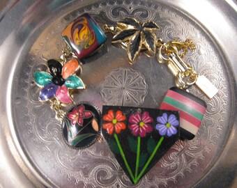 Bridesmaid Gift, Statement, Charm  Bracelet, Vintage Earring Bracelet, Upcycled, Under 40, Black, Pink, Flower, Cloisonne - Midnight Garden