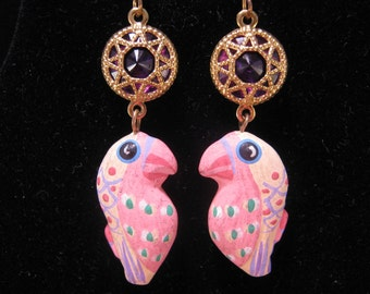 Reclaimed Vintage Earrings, Statement Earrings, Pink, Purple, Jennifer Jones, Hand Painted Parrots, Kitsch, Whimsy - Fun in Margaritaville