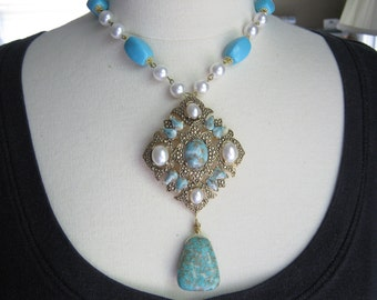 Statement Necklace, Vintage Necklace, Vintage Sarah Coventry, Bridal Necklace, Pearl, Turquoise, Upcycled, OOAK - Her Majesty