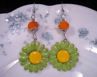Reclaimed Vintage Earrings, Statement Earrings, Enamel Flowers, Flower Power, Jennifer Jones, Lime, Green, Orange, Mod,Under 30 - Citrus Mix