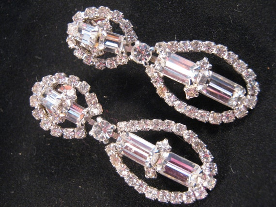 Reclaimed Vintage Earrings, Wedding Earrings, Bridal Jewelry, Bride Earrings, Rhinestone Statement Earrings, Beautiful